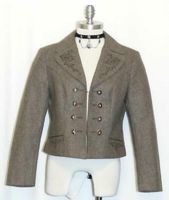 BROWN ~ Loden WOOL German Women Sport Riding Hunting Dress Suit JACKET / 44 8 S