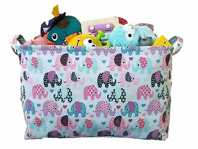 Toy Storage Basket and Canvas Box Organizer with Elephant Prints for Kids Toy...