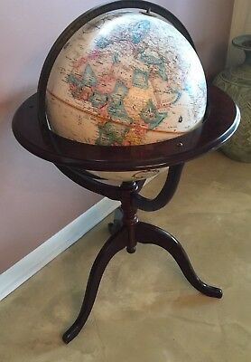 "Vintage 16"" Replogle World Classic Globe with Mahogany Wood Stand"