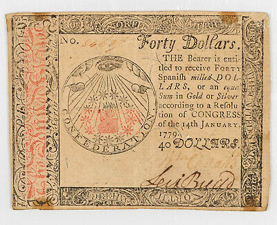 CONTINENTAL CURRENCY FORTY DOLLARS January 14, 1779 $40 VERY RARE