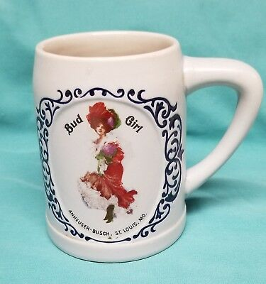 Rare Vintage Bud Girl in Red Dress Stein Mug