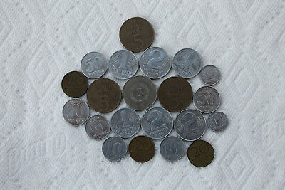East Germany coin collection, 21 coins, 1956-81, 1Pf,10Pf,20Pf,50Pf, 1M,2M, 5M