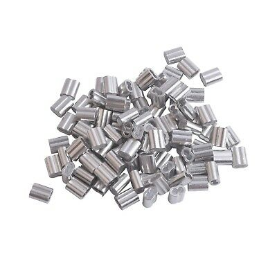 Accessbuy 1/16 Inch Aluminum Sleeves Clip for Wire Rope, 100-Pack