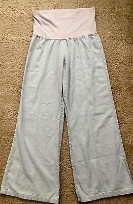 Just Living Gray Linen/Rayon Over The Belly Maternity Pants-Size Small
