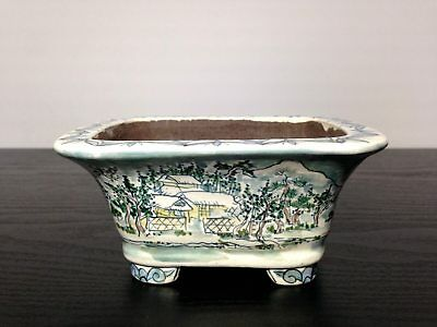Bonsai Pot Tousui Japanese Pottery Ceramic Rare Vintage W136Mm D114Mm H68Mm