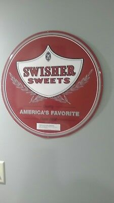 "Vintage Swisher Sweet RARE Round 21"" Collectable Tin metal cigar sign FSTSHP"