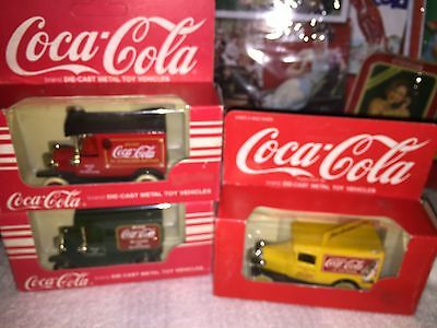 Coca Cola Collection Lot Of Three Vintage Trucks In Original Packages Red Green