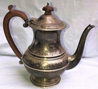 Antique Gorham Sterling Silver Teapot Orig Wooden Handle Finial Hall Mks 11.9 Oz