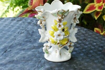 Antique Old Paris Vase  Porcelain Hand Painted  Vases Gilt Gold Floral
