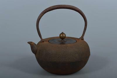 M5972: Japanese Iron Arare pattern TEA KETTLE Teapot Tetsubin,auto w/copper lid