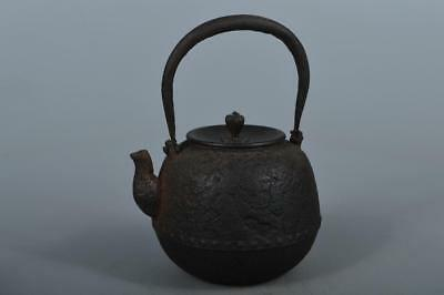 M5514: Japanese Old Iron Dram-shaped TEA KETTLE Teapot Tetsubin w/copper lid