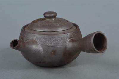 M6789: Japanese Banko-ware Brown pottery TEAPOT Kyusu Sencha Tea Ceremony