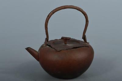 M6552: Japanese Persimmon-shaped OLD COPPER BOTTLE Teapot Dobin, Tea Ceremony