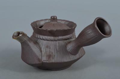 M6165: Japanese Banko-ware Brown pottery Old coin sculpture TEAPOT Kyusu Sencha