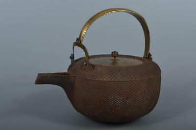 M6104: Japanese Old Copper Arare pattern SAKE KETTLE Bottle Choshi w/copper lid