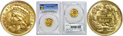 1888 $3 Gold Coin PCGS MS-64
