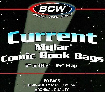 50 BCW Current Comic 2 mil Mylar Bags and Boards  Modern Archival Book Storage