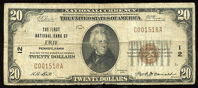 Series of 1929 $20 National Currency Note National Bank of Erie Pennsylvania