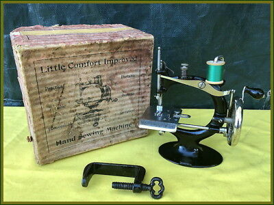 Antique Smith & Egge -Improved Little Comfort- Toy Hand Crank Sewing Machine