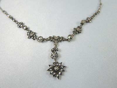 Art Deco Vintage Sterling Silver French Marcasite necklace