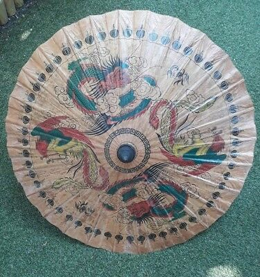Vintage Oriental Painted Paper and Wood Parasol