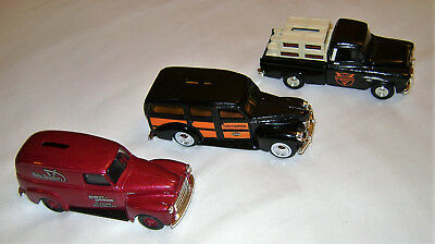 HARLEY-DAVIDSON DIE CAST METAL TOY TRUCKS dime banks SET OF THREE (3) with boxes