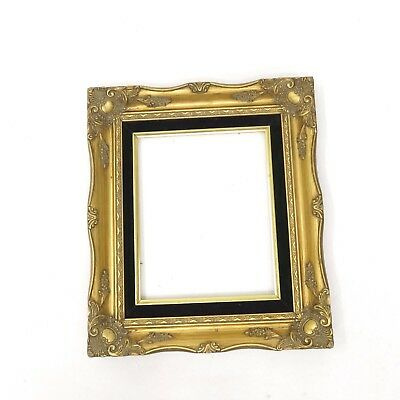 Vintage Ornate Picture Frame Antique Style Gold Gilt Black Velvet Fits 8 x 10