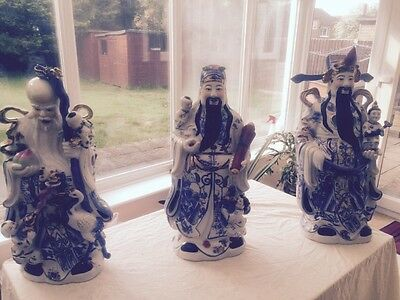 Set Of 3 Oriental Ornament Statue God Of Wealth 21 Inch Height Chinese Buddha