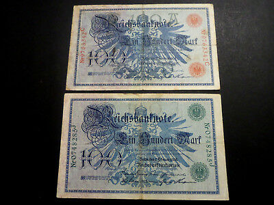 Germany Lot 2 Pcs 1908 100 Marks Banknotes Red & Green Seal - 1 Cent Start!!!