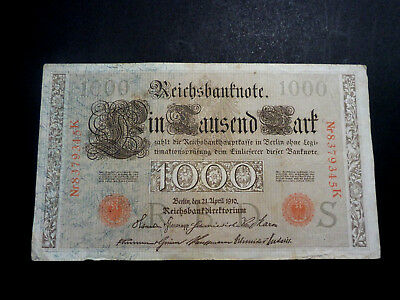Germany 1910 1000 Marks Large Banknote - 1 Cent Start!!!