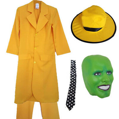 Mens Adults Yellow Suit Hat Tie Add Mask Halloween Fancy Dress Costume Movie