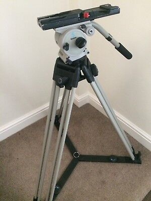 Used Vinten Vision 5 , Two Stage , Floor Spreader Tripod With New Bag