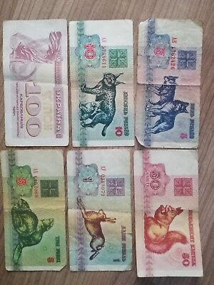 Lot 6 Scheine Belarus 1992+Ukraine 1991
