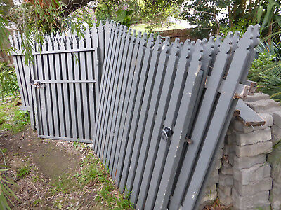 Picket wood wooden fence and 3 x gates used