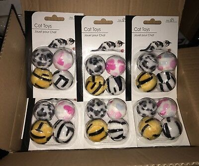 Pack of 6 Bulk Packs of cat play ball toys kitten toy rattles small size