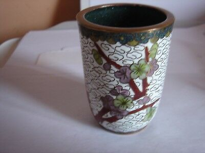 Small Cloisonne Vase Hand Painted With Flowering Buds On A Branch