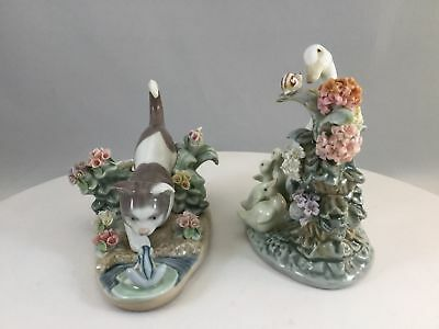 Lot of 2 Lladro Animal Figurines Kitty Confrontation 1442 & How Do You Do? 1439
