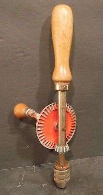 """Vintage Hand Crank Drill Egg Beater Style crank drill Made In USA 9"""" Wood Handle"""