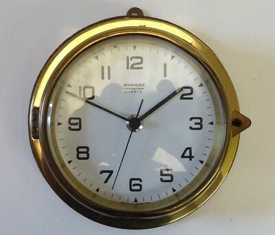 Vintage Staiger West Germany Wood Mounted Brass Quartz Ships clock