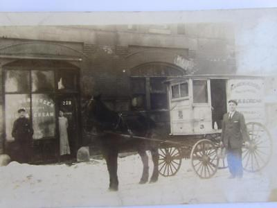 Antique Ice Cream Store Storefront Horse Buggy Salesman Real Photo Postcard