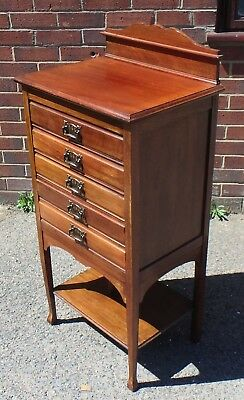 Edwardian antique Art Nouveau solid mahogany 5 drawer music filing cabinet chest