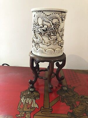 Chinese Blanc de Chine brush pot with character mark to base Wooden Stand