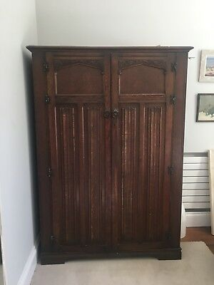 Handsome Edwardian Arts & Crafts Carved Wardrobe