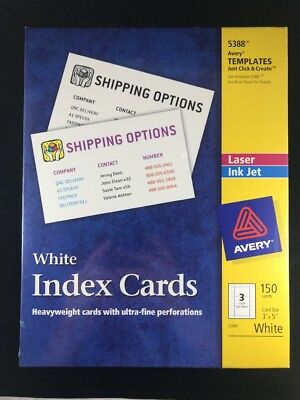 Avery 5388 -Laser/Inkjet Un-ruled BLANK PRINT Index Cards, 3 x 5, White, 150/Box