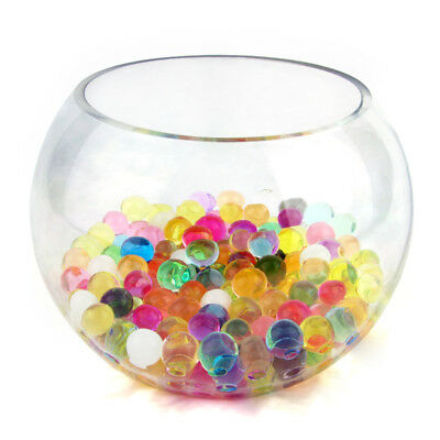 Large 20cm Glass Bowl Fish CentrePiece Round Clear Party Vase Decorative + Beads