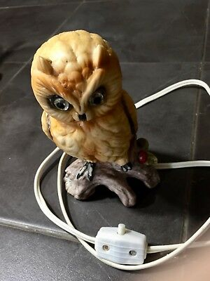 Vintage ARDALT Owl Ceramic Figurine Lamp Night Light 7050 Japan