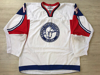 IIHF Game Worn Norge Norway Ice Hockey Jersey Shirt TACKLA XL #14 KNOLD