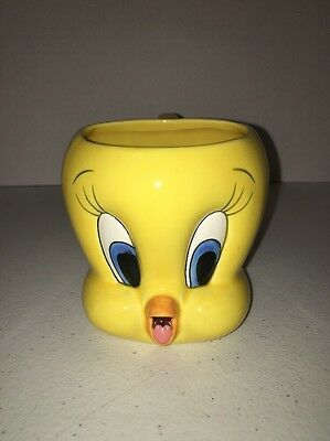 Warner Brothers Tweety Bird Coffee Mug  1995  Yellow Tweety Head Collectible