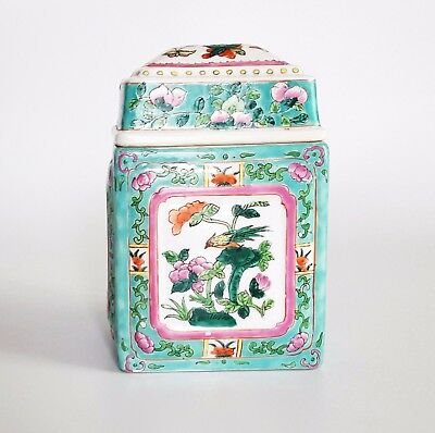 Antique Chinese Turquoise Tea Caddy Jar Box Late Qing / Early Republic Not Vase