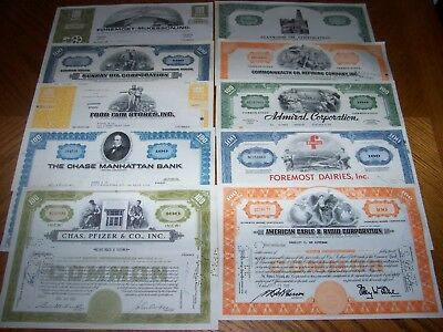 Lot of 10 Different Stock Certificates. TL4